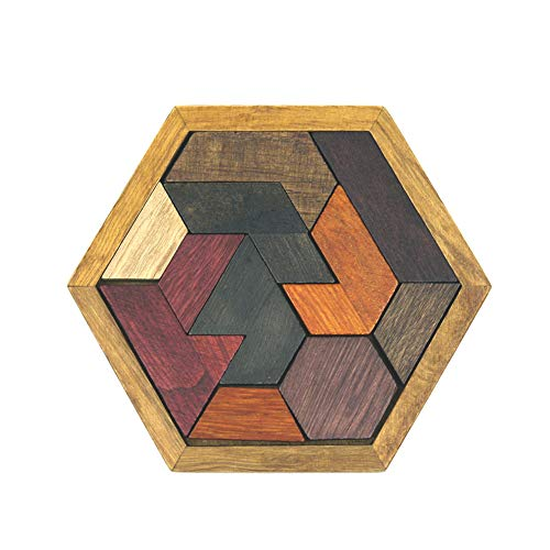 TRRAPLE Wooden Jigsaw Kids Wooden Brain Training Geometry Tangram Puzzle Wooden Shape Puzzle for Boys Girls Toddlers