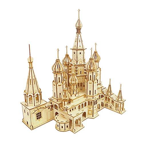 CRECADO 3D Wooden Jigsaw Puzzle Woodcraft Construction Kit - Church