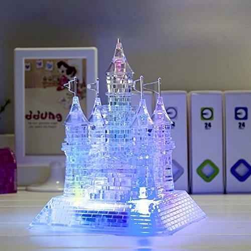 UKSAT 3D Crystal Puzzle Jigsaw105 Pieces 3D Light-Up Musical Crystal Castle Jigsaw PuzzleDIY Crystal Castle Blocks Office Desk Toy with Light-Up Musical105pcs