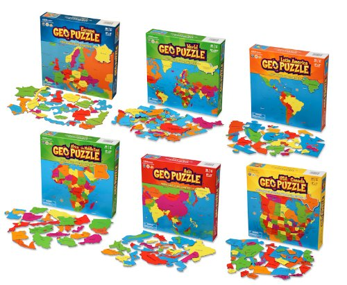 GeoToys - Set of 6 GeoPuzzles - World Map Puzzle Jigsaw Puzzle to Learn Countries of the World - Geography Game for Educational Fun