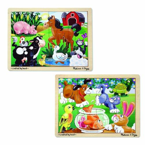 Melissa Doug Animals Wooden Jigsaw Puzzles Set -  Pets and Farm Life 24 pcs