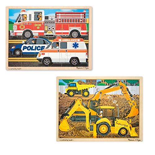 Melissa Doug Vehicles Wooden Jigsaw Puzzles Set - Construction and Rescue 24 pcs