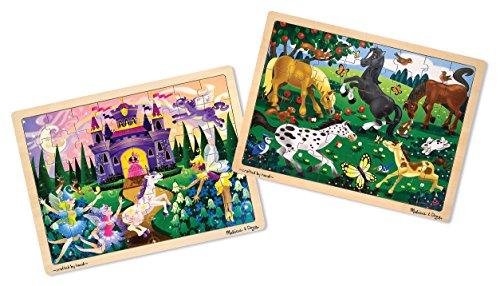 Melissa Doug Wooden Jigsaw Puzzles Set  - Fairy Princess Castle and Horses