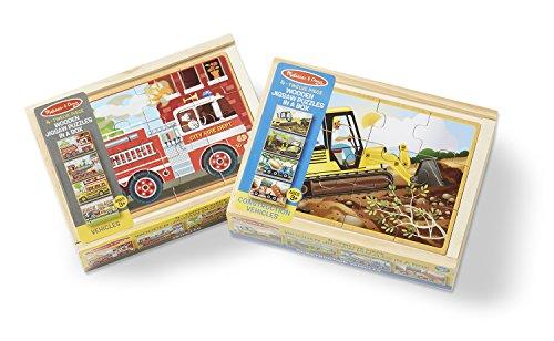 Melissa Doug Wooden Jigsaw Puzzles Set Vehicles and Construction