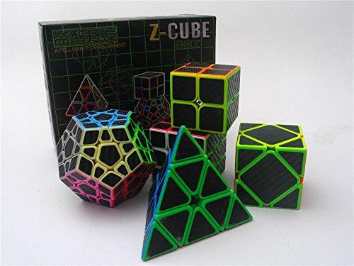 2x2 3x3 Pyramid Skewb Megaminx Speed Cube Bundle Carbon Fiber Sticker Magic Cube Puzzles Collection 5 Cubes in 1 Set