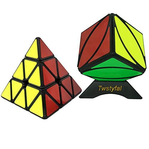 Twstyfal Speed Cube Set Warrior W 3x3 Pyramid Magic Cube and Qiyi Mofangge Ivy Cube FengYe Skewb CubeBlack