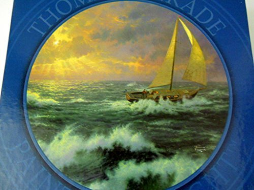 Thomas Kinkade Jigsaw Puzzle Perseverance 750 Pieces 24 inch Round Sailing Ship in Rough Ocean Seas with Rays of Sun Shining Through