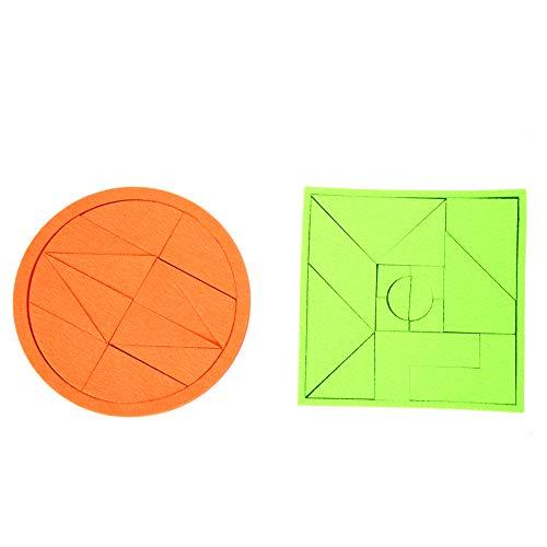 Wal front 2 Sets 13pcs Orange 16pcs Fluorescent Green Felt Plane Tangrams Puzzles Educational Toy Brain Training Geometry Intelligence Tangram Puzzle Jigsaw Puzzle