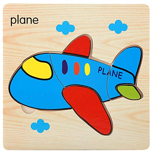 Wooden Jigsaw Tangram PuzzlesPuzzle BoardLearning Educational Toys Gift for KidsColorful Airplane Ship Vehicle Wooden Puzzles Jigsaw Board Intelligent Kid Toy - Plane