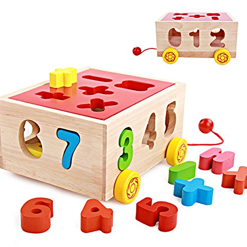 Fengirl Shape Sorting Wooden Car Toy for Kids - Number Educational Jigsaw Puzzles Pieces