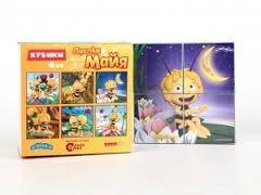 RusToyShop 4psc Plastic Cubes Maya the bee Cartoon Puzzles Children Toys Favorite Cartoon Characters Collect Blocks