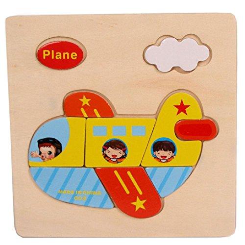 Baby Kids Education Toy FTXJ Cute Wooden Plane Cartoon Puzzle Educational Developmental Baby Kids Training Toy