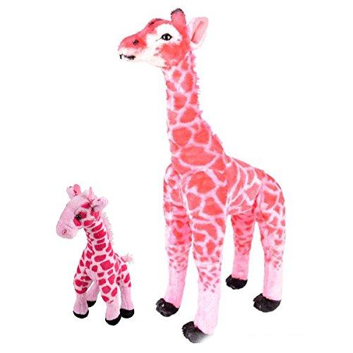 Adventure Planet Pink Standing Giraffe ~ 25 Tall Stuffed Animal Toy Giraffe w Bonus 11 Baby Giraffe Soft Cozy Plush