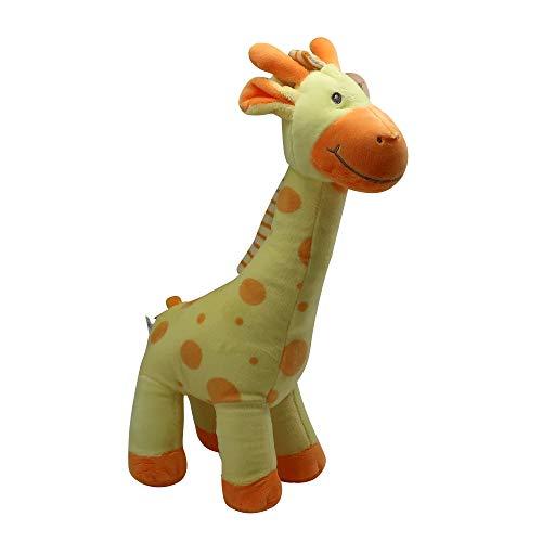 Rattle for Babies Giraffe Stuffed Animal Soft Plush Gentle Sound Infant Toy 0-6 Months Stimulate Newborn Senses Improve Hand Eye-Coordination Safari Nursery Décor Baby Shower Gift Yellow