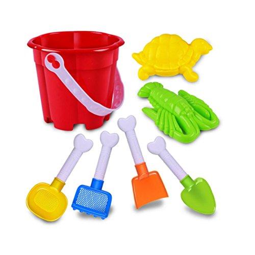LandFox Toy7 Pcs Kids Beach Toys Castle Bucket Spade Shovel Rake Water Tools