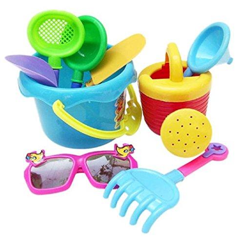 Rukiwa 9Pcs Sand Sandbeach Kids Beach Toys Castle Bucket Spade Shovel Rake Water Tools