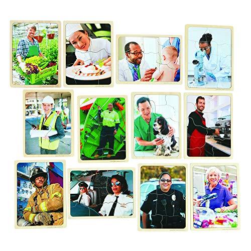Excellerations Wooden Career Jigsaw Puzzle 12Â-L x 9Â-W x 38Â-H for Children 8-12 Piece Puzzles with Picture Card 12 Puzzles Preschool Item  CAREERPZ