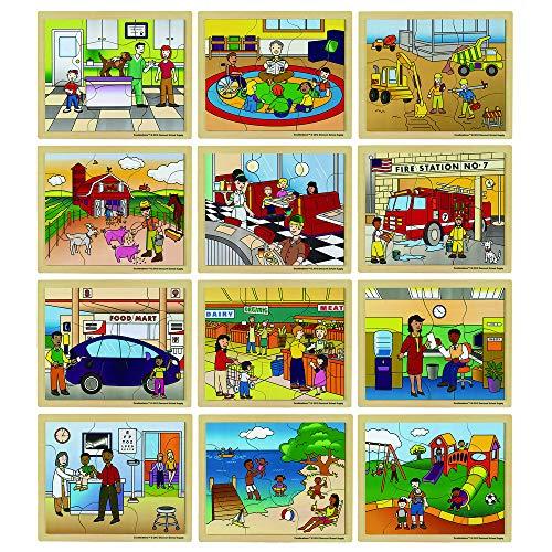 Excellerations Wooden Community Jigsaw Puzzle 95Â-L x 115Â-W for Children 8-12 Piece Puzzles Set of 12 Puzzles Preschool Item  NEIGHBOR