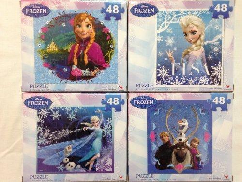 Disney Frozen 48 Piece Jigsaw Puzzles Elsa Anna Olaf Kristoff Princesses 4 Total Puzzles