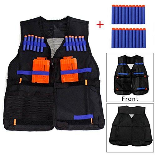 Yosoo Kids Elite Tactical Vest with 20pcs Soft Foam Darts for Nerf N-strike Elite Series Not Including 2 Clips