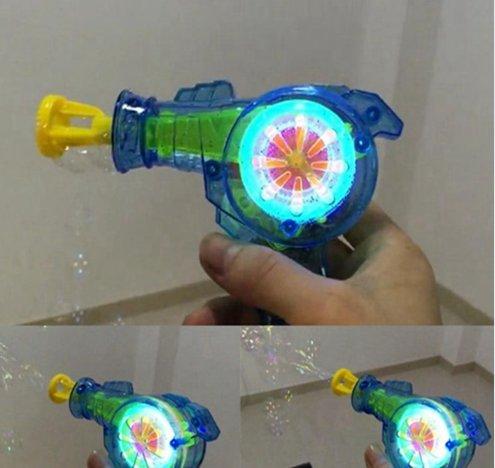 Automatic Flashing Bubble Gun Transparent Plastic Handle Electric Rainbow Light Colorful Soap Bubbles Best Kid Outdoor Toy