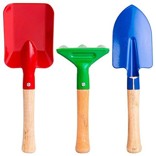E-lishine 8 Long Gardening Tools for Kids 3-Piece Kids Garden Tools with RakeShovel and Trowel