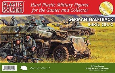 German Sdkfz 251C Halftrack 3 vehicles 24 Crew - 172 Plastic Kit by Plastic Soldier Company by Plastic Soldier Company