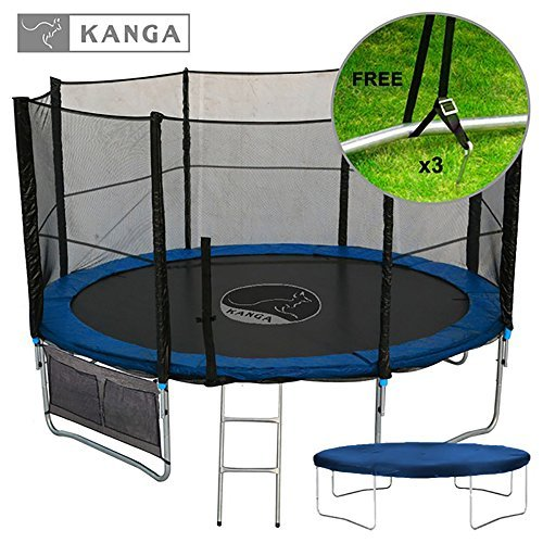 Kanga 12ft Premium Trampoline with Safety Enclosure Net Ladder Anchor Kit Shoe Bag Winter Cover 12ft by Kanga Trampolines