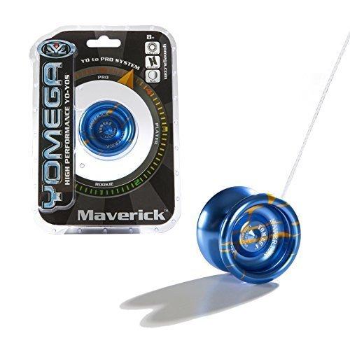 Yomega Maverick - High Performance High-Grade Pro Level Wing Shaped Yo-Yo - All Aluminum Laser Etched Frame - Blue and Orange Stripe by Yomega