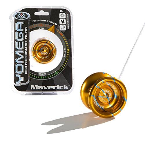 Yomega Maverick - High Performance High-Grade Pro Level Wing Shaped Yo-Yo - All Aluminum Laser Etched Frame - Orange and Blue Stripe