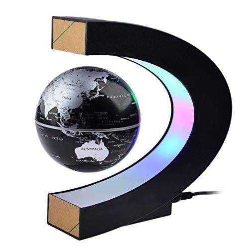 Magnetic LevitationPetforuHigh Rotation C Shape Magnetic Suspension Maglev Levitation Globe with LED Lights for Learning Education Teaching Demo Home Office Desk DecorationUS Plug - Black