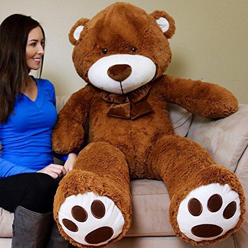 Yesbears 5 Feet Giant Teddy Bear Brown Color Microfiber Bow tie
