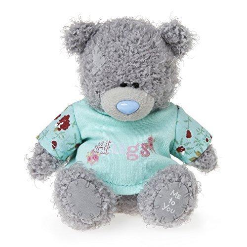 Me to You 4-inch Tatty Teddy Bear Wearing a Hugs T-Shirt Grey