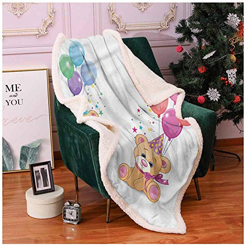 Miles Ralph Warm Blanket Faux Fur Blanket ChildrenTeddy Bears Party Balloons Fleece Throw 60x80
