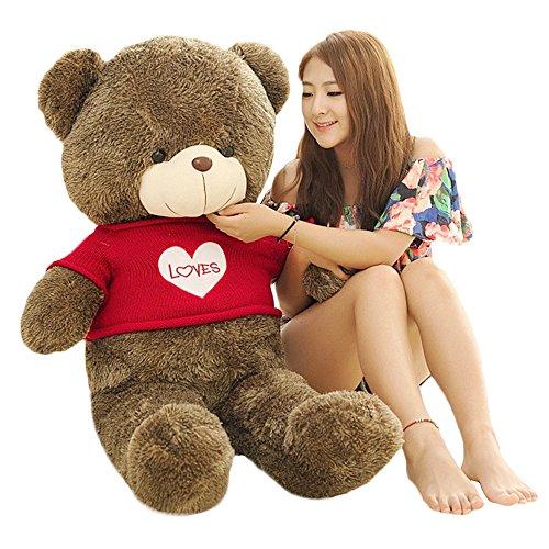 MorisMos Giant Teddy Bear with Love heart Sweater Plush Stuffed Animals 39  1M Dark Brown