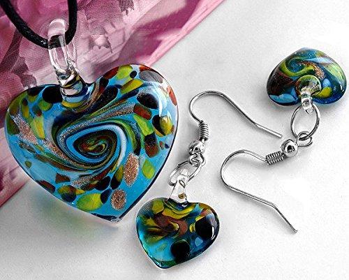 Ecloud ShopHeart-Shaped Lampwork Glass Murano Fashion Beads beautiful Necklace Earring Set