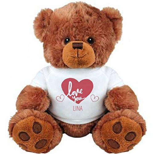 Love You Lina Valentines Gift Medium Plush Teddy Bear