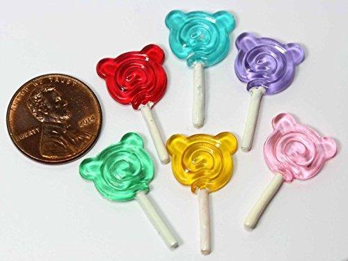 Dollhouse Miniature Set of 6 Teddy Bear Lollipops