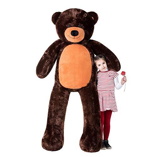 WOWMAX Giant Huge Teddy Bear Cuddly Stuffed Plush Animals Daney Life Size 6 Foot Teddy Bear Toy Doll for Present Birthday Gift Dark Brown 72 Inches
