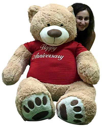 Big Plush Happy Anniversary Giant 5 Foot Teddy Bear 60 Inch Soft T-Shirt Says Happy Anniversary