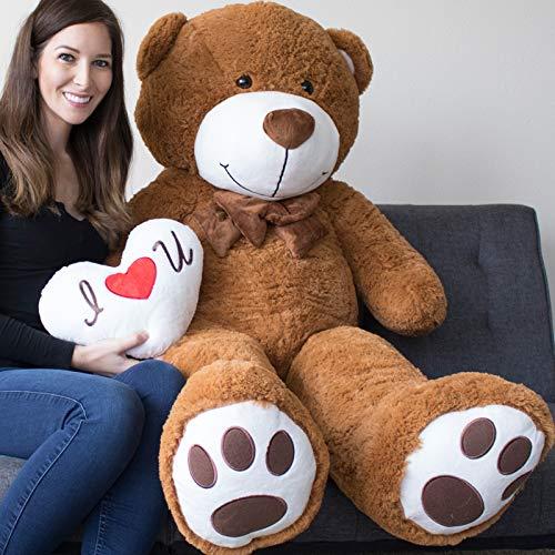 Yesbears Giant Teddy Bear 5 Foot Brown Microfiber Bowtie Face Pillow Included