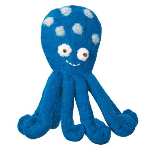 Fair Trade Finger Puppet - Octopus Puppet Wool Felted Finger Puppet or Ornament Dzi