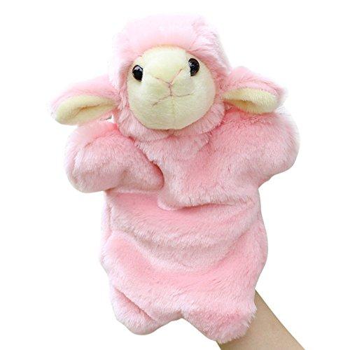 Jutao Fluffy Little Sheep Preschool Hand Puppet Toys for Kids Pink