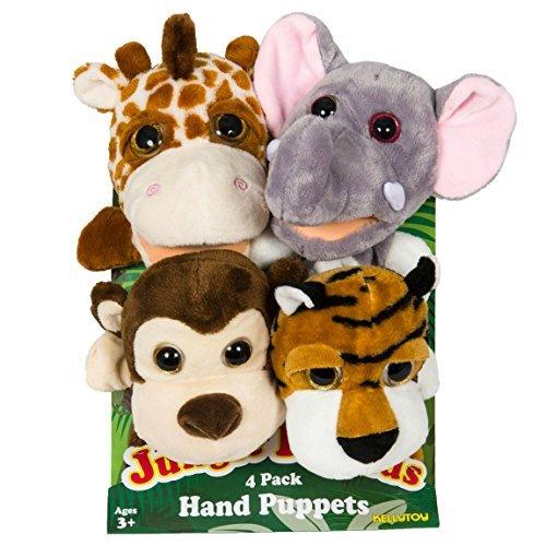 Jungle Friends Plush Hand Puppets 4 Pack