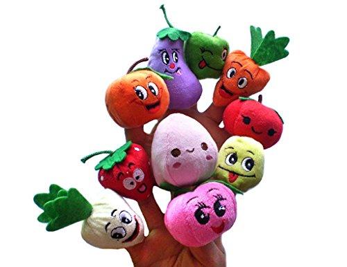RIY 10Pcs Story Time Finger Puppets - Fruit Veggie Educational Puppets