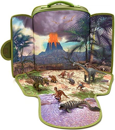 MOJO Dinosaur Backpack Playset with 8 Dinosaur Figurines T-Rex Velociraptor x 2 Brachiosaurus Stegosaurus Triceratops Parasaurolophus and Tylosaurus