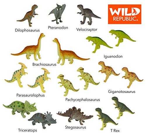 Wild Republic Dinosaur Animal Figurines Tube Dinosaur Toys T Rex Triceratops Velociraptor Dilophosaurus Stegosaurus Brachiosaurus and More