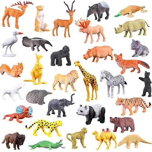 anne210 Jungle Animal Model Simulation Animal World Toy Plastic Farm Animal Toys Learning Educational Playset Party Set 53pcs