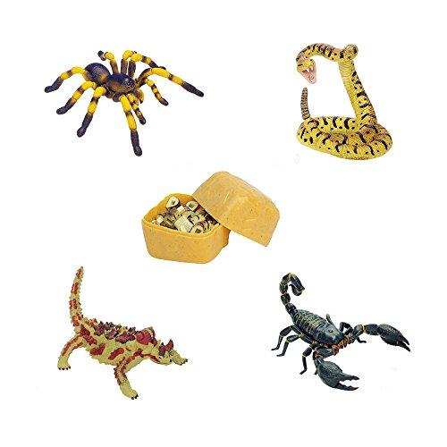 Assorted 4pcsSet Realistic 3D Desert Animal Puzzles Blocks DIY Tarantula Viper Thorny Devil Scorpioned Models Kids Educational Toy 2766