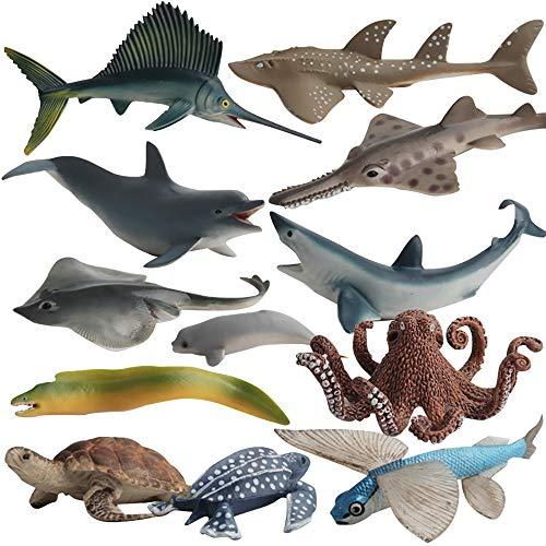 Fantarea Ocean Sea Marine Animal Figures Model Bath Set Toys Figurine Shark Turtle Decoration Playset Gifts Collection Cognitive Toys for Kid Boys Girls 5 6 7 8 Year Old12 pcs